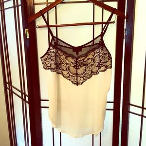 New! Ivory and Black Lace Camisole